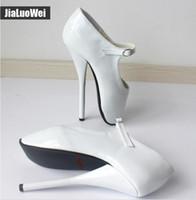 calçados brancos calcanhares venda por atacado-Unisex Homem Sexy Ballet Sapatos de Salto Alto Spike Heel Mulheres Fetiche Bailarina Dedo Apontado Tornozelo Tiras Bombas Branco Plus Size 18 cm
