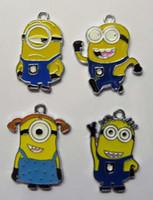 çanta köleleri toptan satış-Sıcak Satış! 100 adet Sarı Karikatür Karakter Metal Takılar Kolye Minions Parti Çanta Dolgu Stil Seçin