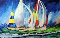 Wholesale Oil Paint Sailboat - Sailboat Race Full Spinnakers Yachts Ocean Sea Pure Hand painted Seascape Art Oil Painting Canvas.any customized size accepted John