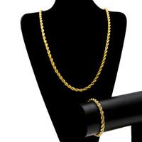 Wholesale chunky gold bracelets men - Men Hip-hop Rope Chain 0.65*80 cm necklace 0.65*22 cm bracelet 18K Gold Rhodium Plated Necklace Bracelet Set Chunky Punk Jewelry