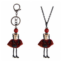 Wholesale Girls Key Necklace - Lovely Crystal Doll Necklace Pendants New Fashion Key Chains Jewelry For Women Girl Styles Accessories Gifts