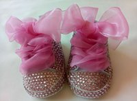 Wholesale Lace Bling Rhinestones - Bling bling Handmade baby shoes rhinestone shoes with Pink lace bowknot princess Girl's shoes soft First Walkers 1161