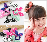 Wholesale ring christmas ornament - Mix Style Hair Ornaments Polka Dot Rabbit Ears Elastic Hair Bands Girl Headwear Headband Scrunchy Children Hair Tie Ring