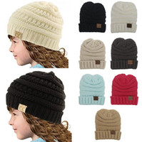 Wholesale Wholesale Wool Skully Hats - Kids Winter Warm Hat Knitted CC Hat Label Children Simple Chunky Stretchable kids Knitted Beanies Baby Hat Beanie Skully Hats LC640