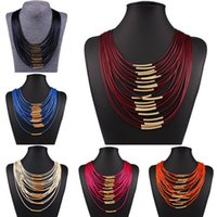 Wholesale Womens Gold 14k Necklace - Fashion Womens Waxed Cottom Cord Necklace Ladies Bib Statement Choker Multi Layers Vintage Jewelry