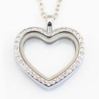 cam takı takımı toptan satış-10 ADET Kalp Madalyon Kolye Takı Manyetik Yüzen Kalp Madalyon Kolye Cam Yaşayan Kristal Madalyon Ile Zincirler