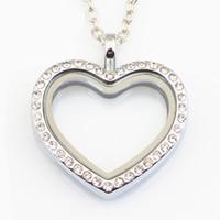 bijoux en direct achat en gros de-10pcs coeur médaillon collier bijoux magnétique coeur flottant médaillon pendentif en verre vivant cristal médaillon avec chaînes