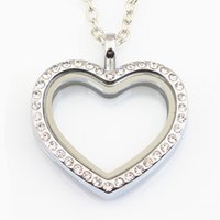 Wholesale Glass Heart Lockets - 10PCS Heart Locket Necklace Jewelry Magnetic Floating Heart Locket Pendant Glass Living Crystal Locket With Chains