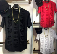Wholesale Destroyed Black Shorts - New Men broken destroy T-shirt high street beggar hole short sleeved shirt male hip hop and tide