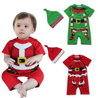 Wholesale Green Elf Costume - 2-PC Baby Christmas Santa elf Costume Romper with Hat Sz 6-24M Baby Boys Girls Party Dress