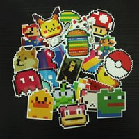Wholesale Kids Luggage Set - 25Pcs lot Cartoon Mario Pixel Style Sticker For Car Laptop Lage Skateboard Backpack Tables Case Decal Kids Toy Sticker