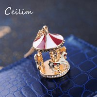 Wholesale Girls Enamel Jewelry - 2017 Fashion Trendy Enamel Carousel Horse Jewelry Pendant Necklace With Crystals For Girls And Wommen Nice Quality Merry-Go-Round Necklace
