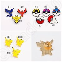 Wholesale Chrismas Tin - Poke Brooch Pins Cartoon Pikachu pokeball Badge Zinic Alloy Action Figures Anime Toy Chrismas Gift 11 styles OOA801