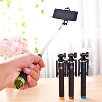 Wholesale aluminum alloy selfie monopod for sale - Group buy Aluminum Alloy Extendable Self Selfie Stick Wired Camera Shutter Remote Controller Selfie Monopod