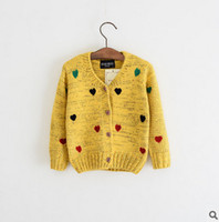 Wholesale Girl Love Cardigan - Kids sweater coat girls colorful love heart knitting cardigan outwear children single breasted princess coat kid autumn cotton clothes T0421
