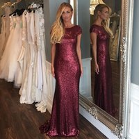 Wholesale Short Sheath Bling Dresses - Real Champagne Gold Navy Scoop Neck Short Sleeve Sheath Shinning Bling Sequined Lace Bridesmaid Dress Backless Wedding Party Gowns