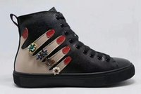 Wholesale Fingers Shoes - genuine leather shoes fashion women men shoes lace up high top with rhinestones fingers