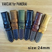 Wholesale panerai watches - Luxury watch strap 24mm high quality genuine leather fit for PANERAI PAM watches without stainless steel buckle