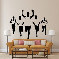 Wholesale Sports Wall Mural Wallpaper - Five Athletes Wall Stickers Living Room Bedroom Office Walking Sportsman Wall Decal Home Decor Wall Applique Wallpaper Poster for Wall Decor