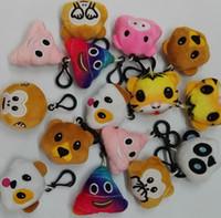 brinquedo do macaco do amor venda por atacado-22 estilo 5.5 cm 2.16 polegada macaco amor porco pooh cão panda Emoji Chaveiro de pelúcia emoji Recheado de Pelúcia Boneca de Brinquedo chaveiro para Celular pingente