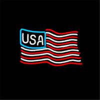 "Wholesale Usa Signs - USA Flag Neon Sign Custom Store Display Beer Bar Pub Club Led Light Signs Shop Decorate Real Glass Tube Bulbs 17""x14"""