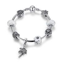 glasperlen weißes armband großhandel-Europäische Pandora Style Charm Armbänder mit weißen Blasen Murano Glas Perlen Perle Oyster Silber Charms Blatt baumelt DIY Armreifen BL156