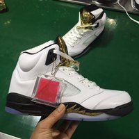 Wholesale Top Cut Leather - 2016 best air Retro 5 Olympic Coin gold white Mens Basketball Shoes men sports shoes Wholesale Top Quality Genuine Leather Sneakers 40-47