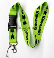 Wholesale Cartoon Badges - FREE SHIPPING green Men's Kawasaki Key Lanyard car Logo Keychians Badge Holders