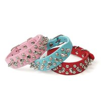 Wholesale Leather Metal Dog Collars - Newest 6 Colors Round Metal Nail Dog Collar Pet PU Leather Collars Charm Dogs Cats Necklace