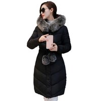 Wholesale Sash Faux Fur - 2017 Down Parka Winter Jacket Women Cotton Padded Thick Ultra Light Long Coat Faux Fur Collar Hooded Female Jackets For Woman