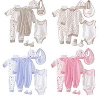Wholesale Pyjamas Baby - Newborn Clothing Set 0-3M Newborn Baby Clothing Set Baby Boys Girls Clothes Cotton Polka Dot Pyjama Overall Bibs Underwear 8pcs set