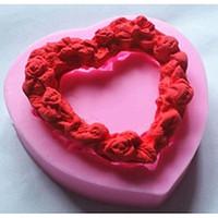 Wholesale Silicone Heart Shaped Chocolate Mould - Heart Shaped Love Wreath silicone Fondant,Resin Clay Chocolate Candy Silicone Cake Mould,Fondant Cake Decorating Tools wholesaleTY1897