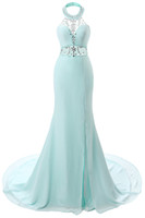 Wholesale Aqua Chiffon Evening Gowns - 2017 New Aqua Sexy Halter Crystal Prom Dresses Sheer Beaded Backless Mermaid Long Prom Evening Gowns Split Arabic Party Dresses