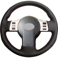 nissan lenkradabdeckungen großhandel-Schwarzes Leder Handgenähtes Auto Lenkradbezug für Infiniti FX FX35 FX45 2003-2007 Nissan 350Z 2003-2006