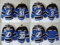 Wholesale Nhl Jersey Cheap - NHL Tampa Bay Lightning hoodies cheap hockey jerseys hoody Sweatshirts STAMKOS#91 JOHNSON#9 BISHOP#30 Blank blue 1pcs freeshipping