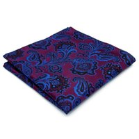 Wholesale navy pocket squares online - KH13 Floral Paisley Fuchsia Red Blue Navy Black Pocket Square Mens Neckties Jacquard Woven Hanky