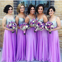 Wholesale Cheap Beaded Bridesmaid Dresses - Purple Bridesmaid Dresses A Line Spaghetti Strap Beaded Sequined Chiffon Wedding Guest Dress Long Pleats Zipper Cheap Party Gowns