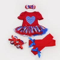 Vestito dei bambini del vestito da partito del pannolino della copertura dei calzini di Dress + Headband + Shoes + High 4pcs \ set 4set \ lot del merletto delle ragazze infantili della bandierina americana