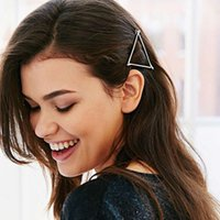 Wholesale Silver Metal Hair Clips - Wholesale-2016 Trendy Fashion Jewelry Gold  Silver Plated Metal Triangle Hairpin Hair Clips For Women Simple Hair Accessories 2 Colors