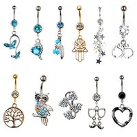 Wholesale 1Pc G Rhinestone Silver Gold Retro Anchor Cat Owl Snake Navel Belly Button Ring Body Piercing Body Jewelry Gifts
