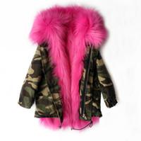 kürk tilki kızı toptan satış-Kızlar Kış Coat Faux Fox Kürk Astar Ayrılabilir Ceketler Toddlers Çocuk giyim Bebek Kız Kalınlaşmak Sıcak Ceket Parkas Için Boy