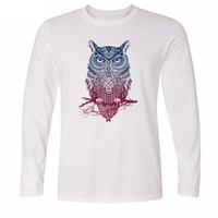 Wholesale Owl Tees - Men's long sleeve T-shirt Trendy Fashion OWL print T Shirts Casual O Neck Men Tops long Sleeve Tees tshirt 2017 L01