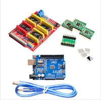 Wholesale Driver Board Cnc - Wholesale-Free shipping! cnc shield v3 engraving machine 3D Printer+ 4pcs A4988 driver expansion board for Arduino + UNO R3 with USB cable