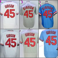 Wholesale Cool Retro - St. Louis Retro 45 Bob Gibson Jersey Baseball Cooperstown Vintage 1967 Flexbase Cool Base Pullover Button White Grey Blue Red