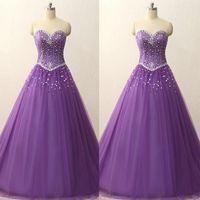 vestido de corsé púrpura claro al por mayor-Los cristales púrpura mangas novia vestidos de quinceañera barato Luz Una línea vestido de fiesta formal largo Vestidos Fiesta posterior del corsé