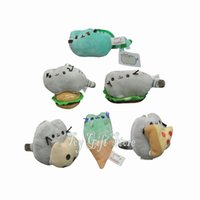 Wholesale Plush Hamburger - Free Shipping Pusheen The Cat Pusheenosaurus Cookie Icecream Pizza Taco Hamburger Dinosaur Dino Mint Plush Doll Stuffed Toy 4""