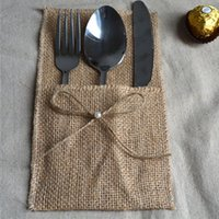 Wholesale Wholesale Police Supplies - Hessian Knives and forks Bag Rustic Wedding Party Favor Holders Decorations Burlap Cutlery Holder Bow Tie