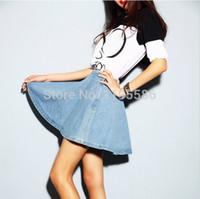 Wholesale Vintage Short Skirt Sexy Ladies - Wholesale-Fashion Women's High Waist Sexy Mini Denim Short Skirts Female Casual Vintage jean Skirts Bust Skirt For Ladies Skater Skirt