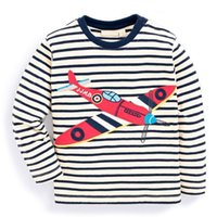Wholesale Cool Cottons Shirts - Cool Boys T shirt Long sleeve Boys clothing Striped Cartoon Helicopter European New style 2017 Autumn Spring Bottom Top 1-6T Wholesale