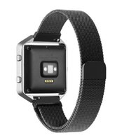 Wholesale Spring Steel Strap - Latest 23MM Magnetic Milanese Loop For Fitbit Blaze Band Smart Watchband Bracelet Strap Stainless Steel Metal Magnet Fitness With Spring Bar